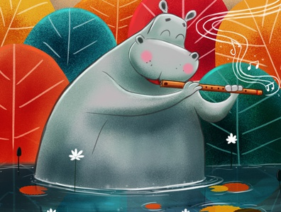hippo with flute