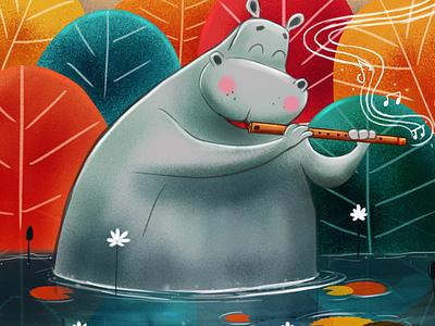 hippo with flute digital illustration digital art children book illustration illustrations