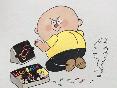 Bad Boy watercolor vintage bad boy icon prismacolor copic comics logo illustration design