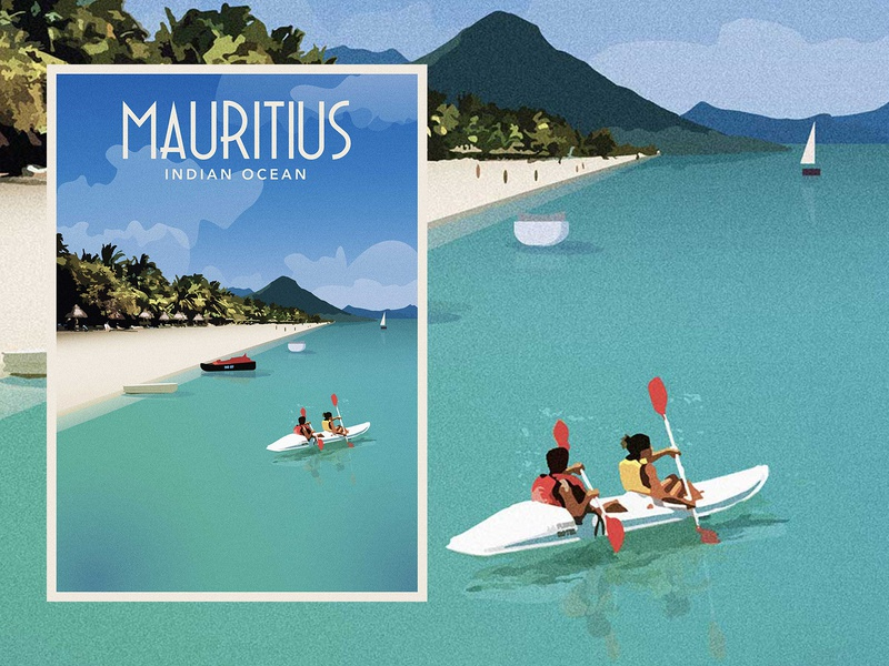 Mauritius — Vintage Travel Poster illustration poster travel vintage island mauritius design art