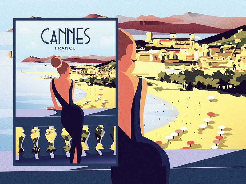 Cannes — Vintage Travel Poster beach mediterranean riviera french poster travel vintage illustration design art france cannes