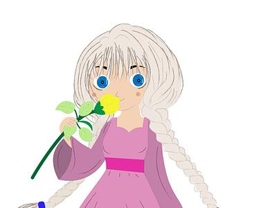 мультяшная девочка с цветком детскаяиллюстрация платье цветок косички девочка мультик love рисунок фон дизайн логотип вектор иллюстрация artwork card