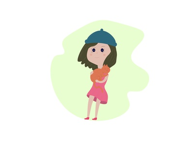 девочка с котом модная иллюстрация платье кот девочка детскаяиллюстрация мультик isolated love фон рисунок дизайн логотип вектор иллюстрация artwork card