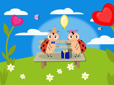 божьи коровки персонаж мультик подарок день рожденте открытка божьи коровки design illustration логотип дизайн artwork