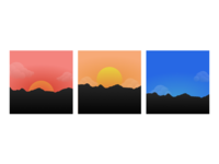 Three Different Sunset