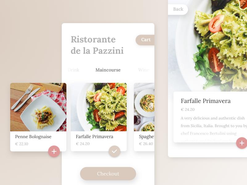 Italian Restaurant mobile app UI wip simple clean food flat ios ux ui app mobile