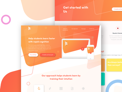 Simple flat course company Landing Page website color pop modern simple flat page landing