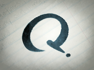 Q, Take Two ink traditional lettering q rebound type script photoshop typography brush illustration paper texture question mark playoffs