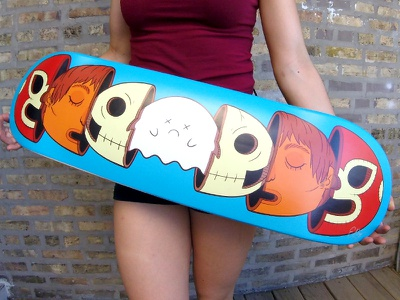 Luchaboard illustration luchador skate mexico mask ghost skull wrestling lucha deck skateboard
