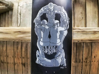 A Divine Death roller derby skull skateboard skate illustration ghost deck