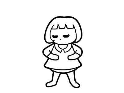 Mini Me black and white illustration vector cute girl character tantrum girl