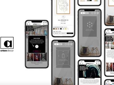 Artsee Decor (web/ AR app) app style guide branding wall art user interface ux ui brand guidelines mobile typography black and white logo augmented reality