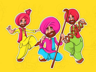 Rangle Punjabi Stickers Design