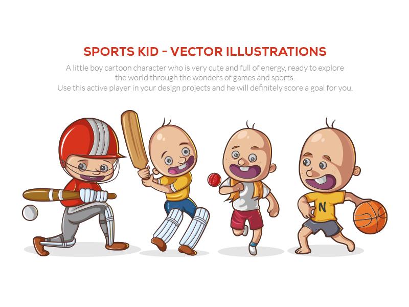 Sports Kid - Vector Illustrations f1digitals play kids sports stickers emoticons emojis illustration vector