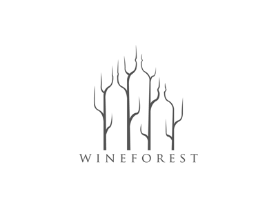 Wineforest wine forest negative space brand logolounge logo tree bottle identity drink branch fall typography season
