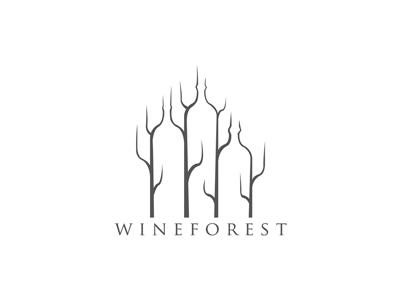 Wineforest wine forest negative space brand logolounge logo tree bottle identity drink branch fall typography season