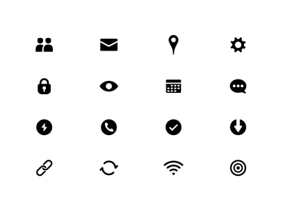 Icon Set location messages calendar network power download friends settings security ui simple icon