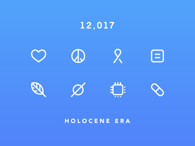 Happy New Year 12,017! equality space holocene symbols ribbon peace leaf heart 2017 new year icons line