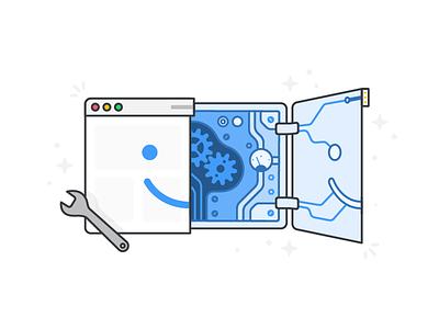 Maintenance Panel + Web Browser maintenance wrench web robot electronics gears panel illustration