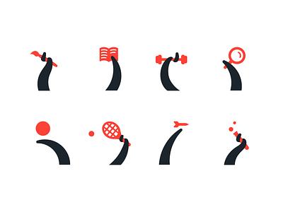 Activities + Octopus lab dart tennis ball search weightlifting book brush octopus branding symbol logo