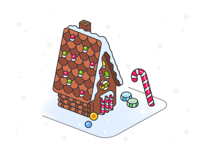 Season's Greetings! illustration gingerbread house holidays xmas christmas candy candy cane gingerbread