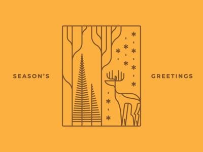 Season's Greetings minimal design line art lineart linework xmas tree deer seasons greetings illustration christmas xmas