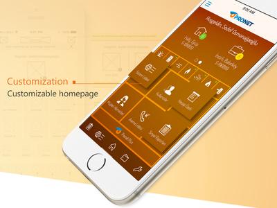 Customizable App UI Design (Pronet OIM) pronet oim app customizable app page mobile user interface design mockup app design ui iphone6