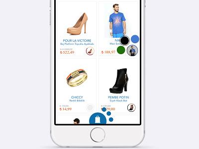 E-Commerce Color Selection Demo for Zizigo color selection e-commerce app user interface ui gesture