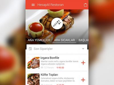 HesapAl Menu - Material Design google hesapal material design tab list mobile ui ui mobile