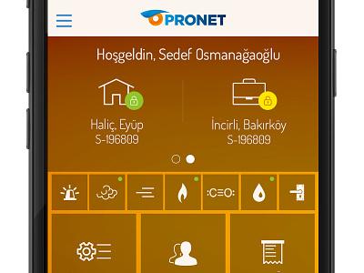 Pronet Homepage user interface mobile ui mobile ui dedector security pronet