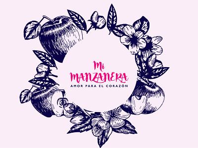 Mi manzanera artesanal casero apple manzana marca logo mark logo design branding brand