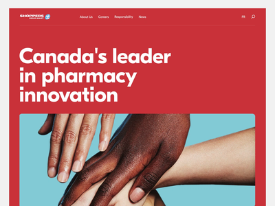 Shoppers Drug Mart Corporate Website white clean canada red annimation motion design ui ux innovation pharma pharmaceutical pharmacy healthcare health corporate website web