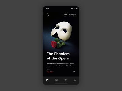Dubai Opera Dashboard theater opera principle ticket booking ticket app tickets purchase animation app ux ui
