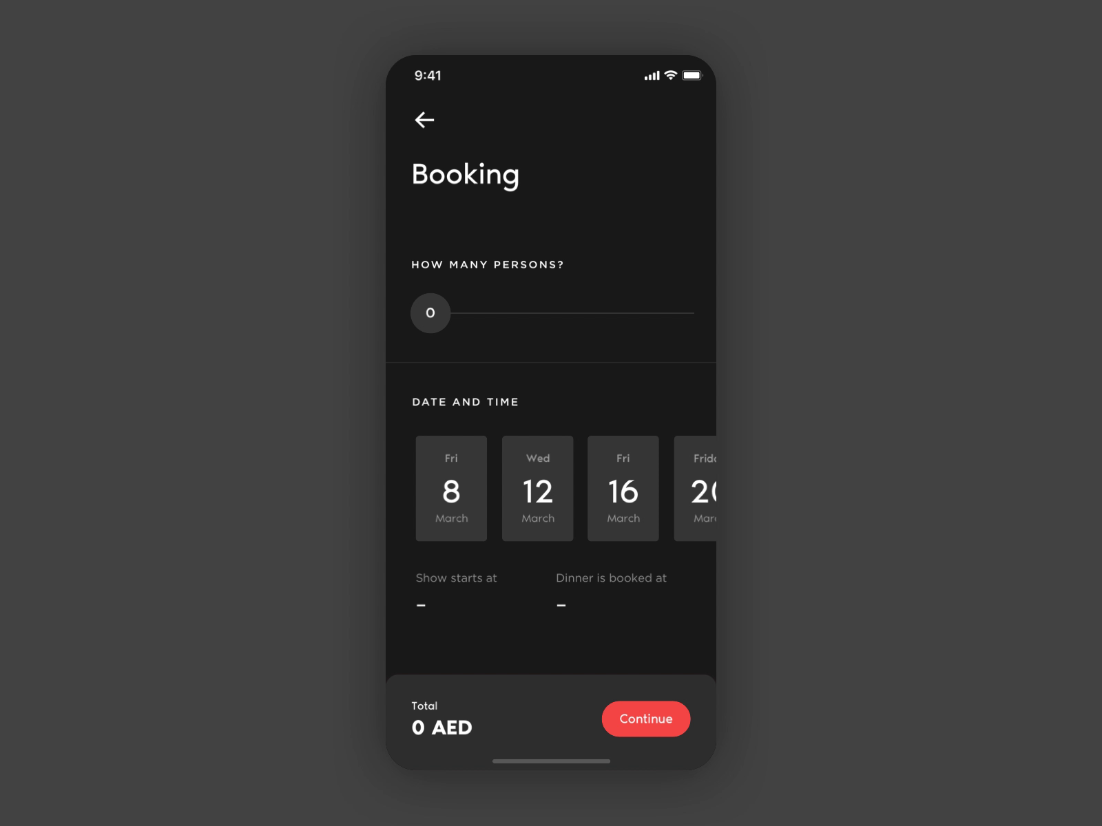 Booking flow dribbble template