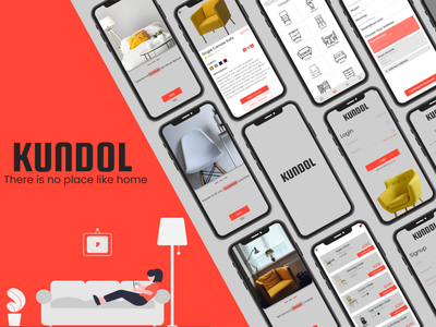 Kundol - There is no place like home redesign logo illustration icon branding typography e-commerce designer ui design