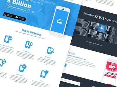 Mobile services landing page ui landing responsive mobile freelancer icons