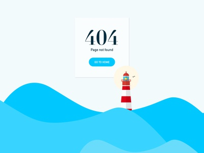 Daily UI 008 - 404 page freebie card page lighthouse find boat minimal clean 404page 008 dailyui