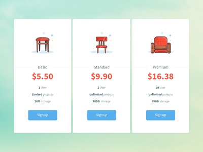 daily UI 030 - Pricing table box icons minimal sofa chair stool illustration price pricing 030 dailyui