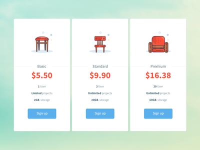 daily UI 030 - Pricing table box icons minimal sofa chair stool illustration price pricing 030 dailyui