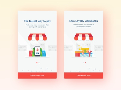 Flash pay - Onboarding fun flat minimal mobile pay ios illustration clean ux ui app onboarding