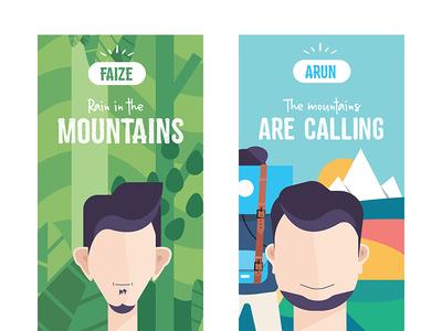 Travel Card vector backpack adventures trip travel journey illustration design high mountains flat design color character