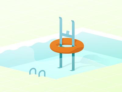 Swimming pool olympics 2d illustration swim pool design flat