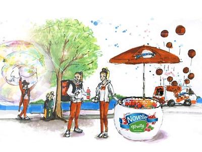 Illustration for Novelle Fruity street promotion, B2C