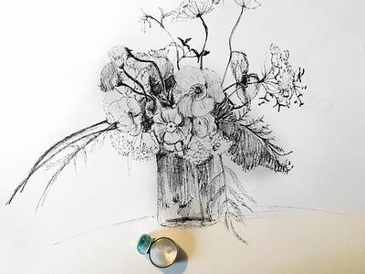 Floral illustration blackandwhite illustration