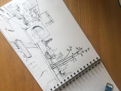 Architecture in Malmö 20mins blackandwhite illustration