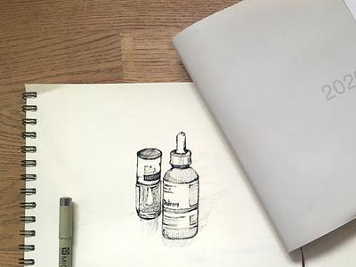Cosmetics blackandwhite 20mins illustration