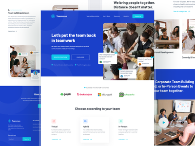 Teamman - Exploration Website Bootcamp Team Building landing page ui design uiux clean design video clean team inspiration shadow minimalist layout colorfull hero hero section footer website design