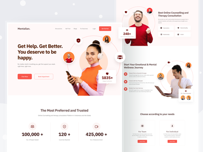 Counseling Psychologist Website Visual Exploration landing page inspiration layout colorfull hero section hero footer clean design website design ornament clean website