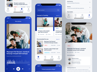 Podcast App - Mobile Design Exploration podcast app music app player mobile app uxdesign uidesign smooth gradient gradient uiux ui android mobile design app design podcast