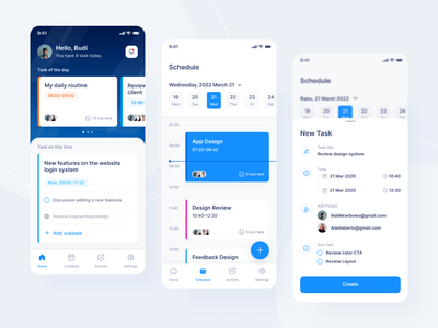 Task Management App - Mobile App Exploration blue appdesign phone mobile gradients gradient color task ornament gradient management app ui design uiux